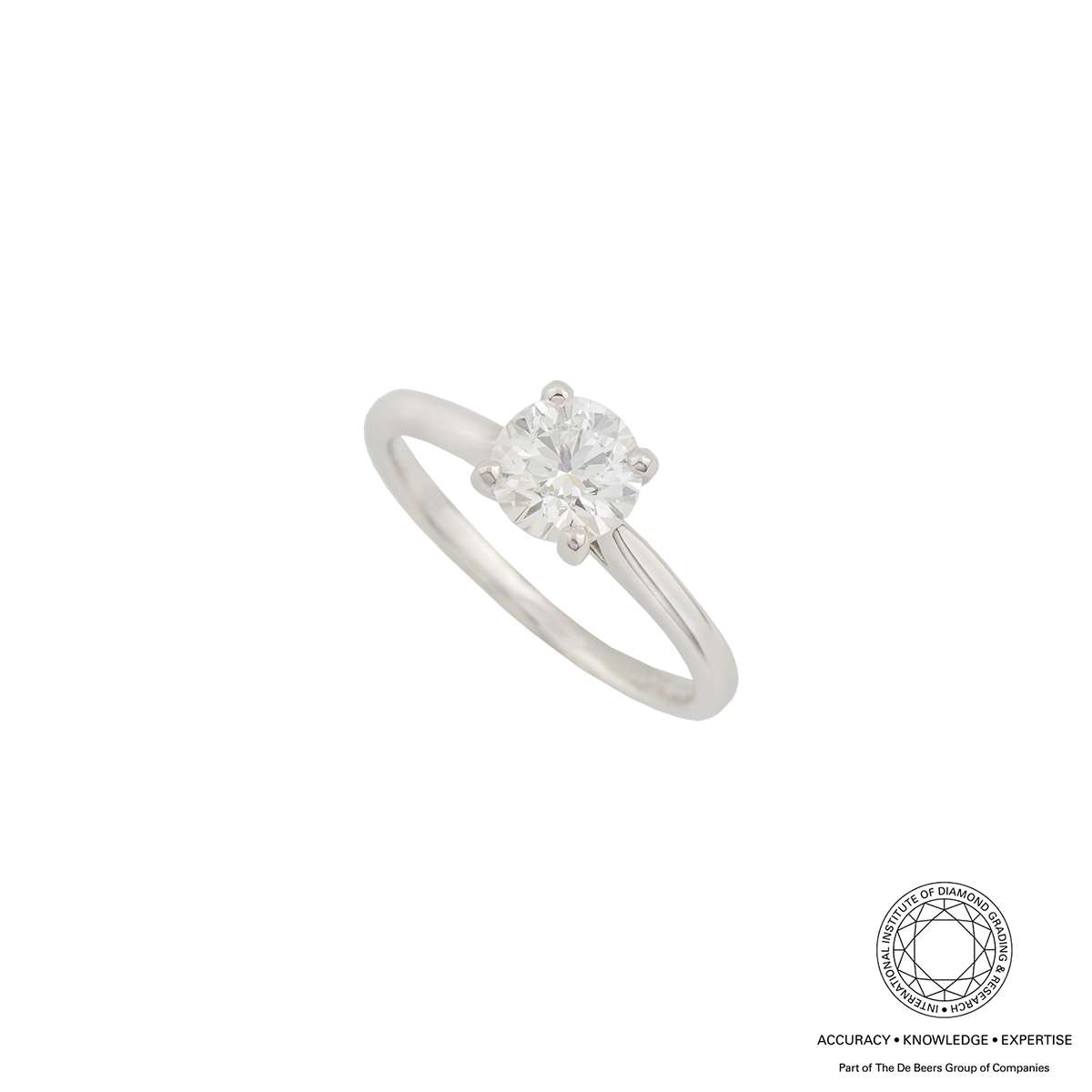 18k White Gold Round Brilliant Cut Diamond Ring 1.00ct G/SI1